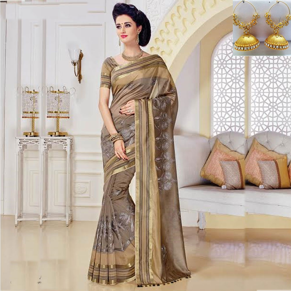 Grey cot silk embroidery saree