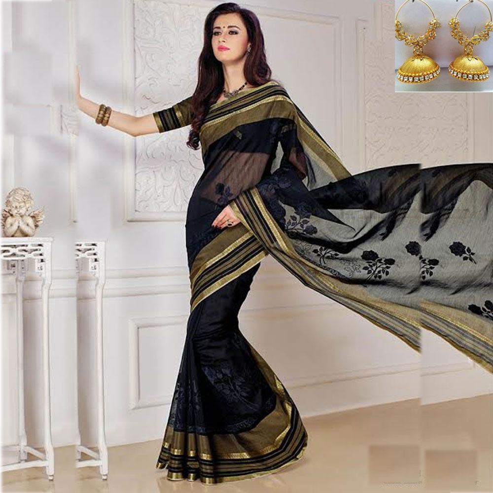 Black cot silk embroidery saree