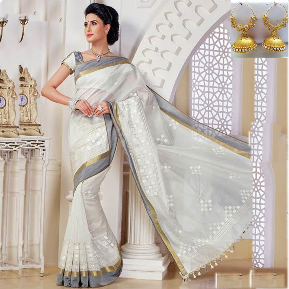 White cot silk embroidery saree
