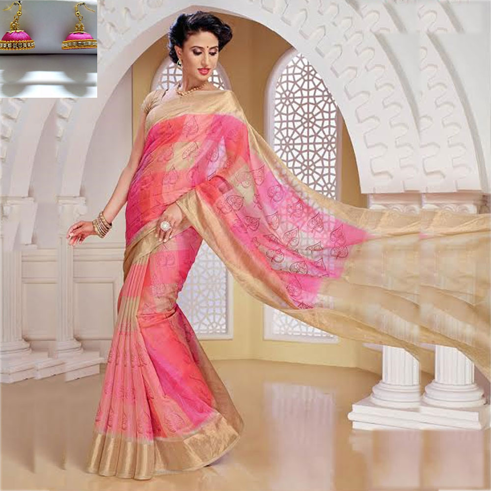 Pink and sand stone cot silk ikkath embroidery saree