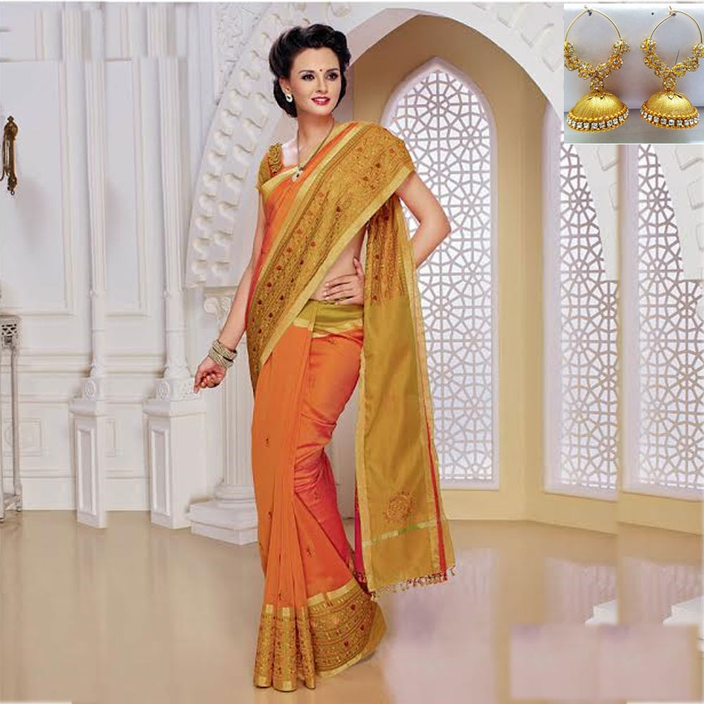 Orange and Green cot silk embroidery saree
