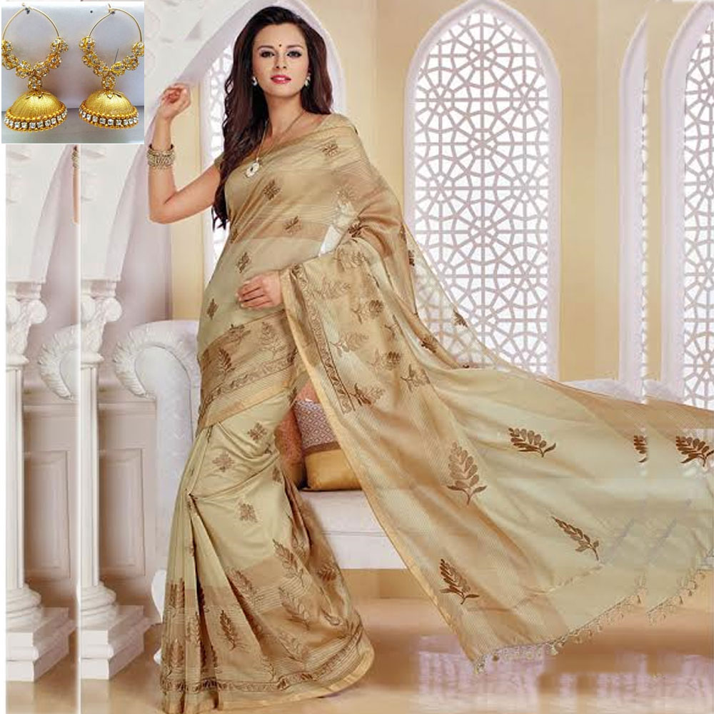Off white cot silk embroidery saree