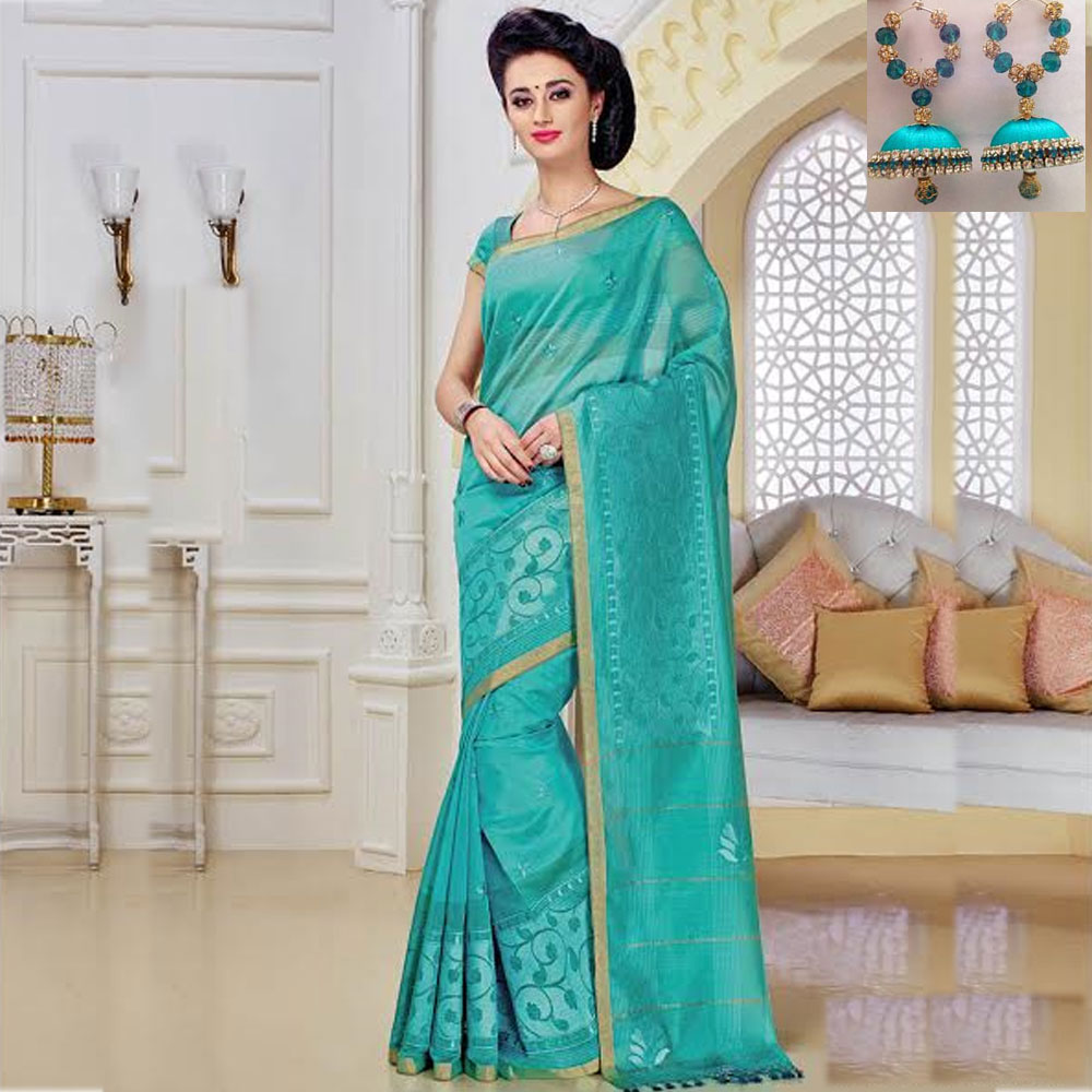 Green cot silk embroidery saree