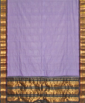 Cotton Gadwal Saree-Purple Color Cotton Gadwal Big Border Saree