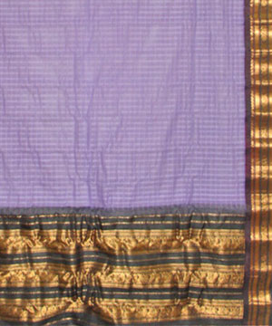 Purple Color Cotton Gadwal Big Border Saree