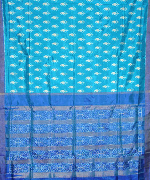 Patola Silk Saree in Copper Blue and Navy Blue