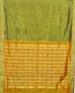 Patola Silk Saree in Olive Green