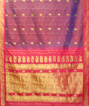 Blue and Maroon Color Pure Silk Saree