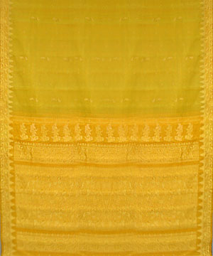 Mustard With Green Color Pure Silk Saree India