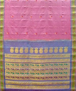 Light Pink Color Pure Silk Saree
