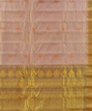 Apricot and Khaki Color Gadwal Tissue Saree