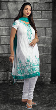 Churidaar Kameez-Churidaar Kameez in White Color