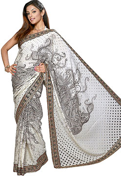 Designer Georgette Saree with Foil Embroidery