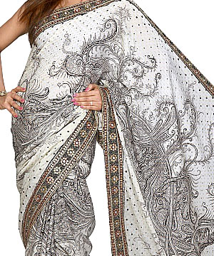 Georgette Sarees-Designer Georgette Saree with Foil Embroidery