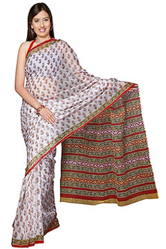 Traditional block printed Kota Doria Saree