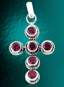 Handcrafted Garnet Pendant In Silver