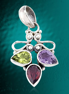 Pendant With Faceted Gemstones