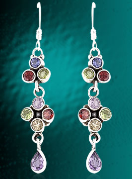 Designer Earrings With Faceted Gemstones