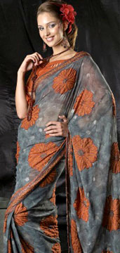 Georgette Sarees-Grey Saree With Silver Zari Embroidery