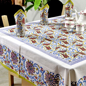 Hand Block Printed Table Cover with 6 Napkins