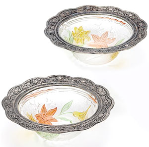 Floral Print Bowl Set with Glass - Set of 2
