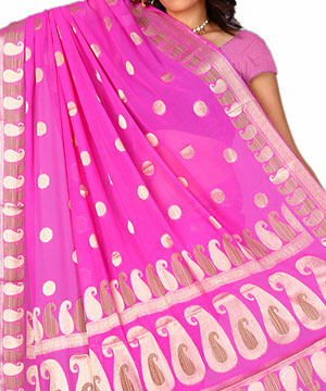 Chiffon saree-Pink Chiffon Saree with Paisley Designs
