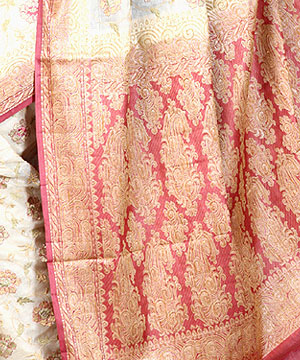 Pure Silk Sarees-Designer off White Silk Saree with Zari Weave