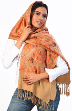 Pashmina Stole with delicate hand embroidery