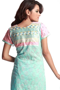 Churidaar Kameez-Stunning Cotton Suit with Resham Embroidery