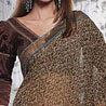 Brown Faux Georgette Saree