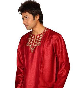 Shining Red Cotton Satin Kurta