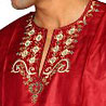 Shining Red Cotton Satin Kurta