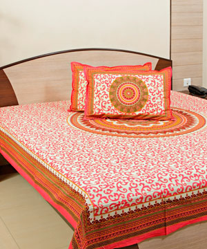 Ethnic Hand Blockprint Bedsheet with 02 Pillow Covers