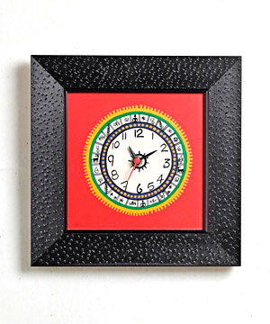 Worli Painting Clock in Wood