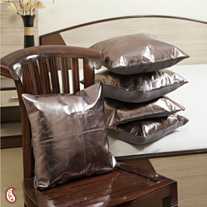 Metallic Grey Leather Cushion Covers