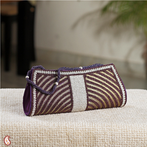 Violet Bead Clutch with Stones