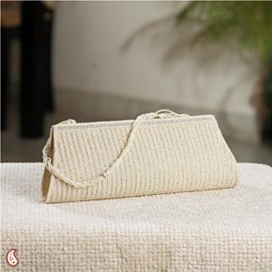 Cream Clutch with Striper Stone Work