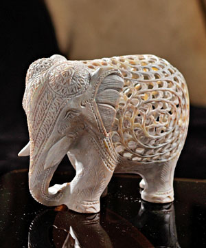 Carved Stone Elephant Showpiece