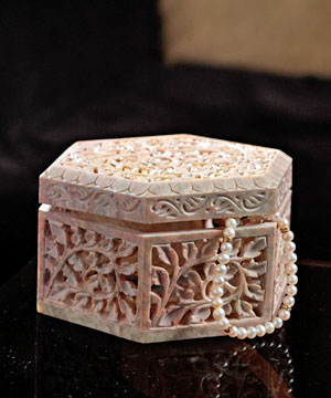 Pentagon Shaped Carved Jewellery Box