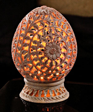 Charming Carved Tea Light Holder