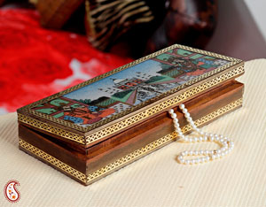 Taj Mahal Designed Gemstone Jewel Box