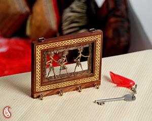 Gem Stone Artifacts-Tribal Motif Four Key Hanger