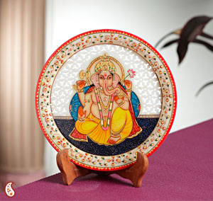 Carved Ganapati Painted Marble Plate