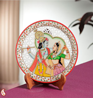 Carved Marble Plate with Radha Krishna