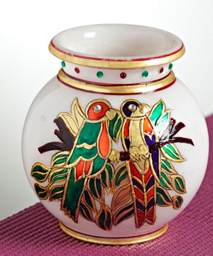 Marble Pot with Gold Work