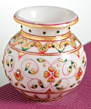Jal Design Gold Work Marble Pot