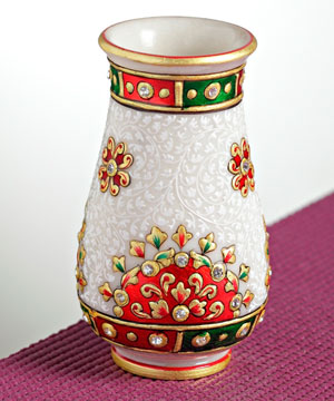 Marble Vase with Gold Emboss Work