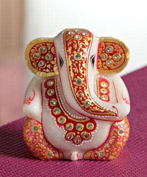 Marble Idols-Gold Work Marble Ganesha with Kundans