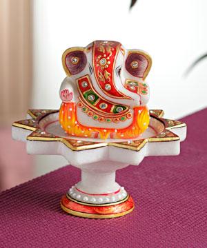 Marble Idols-Marble Ganesha Mounted on Lotus Pillar