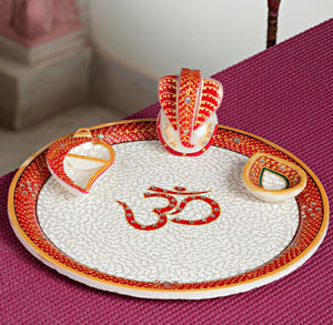 Plates-Om Marble Thaali with Emboss Work